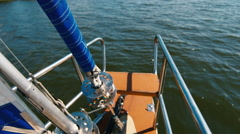 Nose boat on background of water. Top view Stock Footage