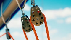 yacht pulleys, close-up yacht detail - stock footage