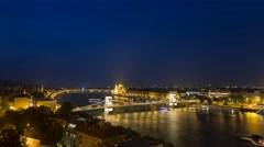 Budapest panoramic time lapse scene by night 4K Stock Footage
