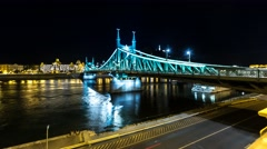 Liberty bridge in Budapest by night in 4K Stock Footage