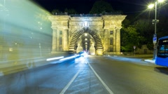 Traffic in front of the Adam Clark tunnel in Budapest - stock footage