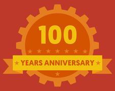 Orange badge of 100 years anniversary Stock Illustration