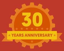 Stock Illustration of Orange badge of 30 years anniversary