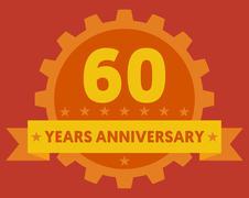 Stock Illustration of Orange badge of 60 years anniversary