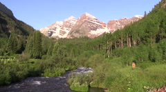 Maroon Bells Scenic Landscape Aspen Colorado Stock Footage