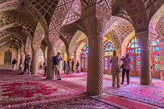 Tourists in the Pink Mosque in Shiraz Stock Photos