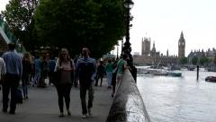 A busy scene on the South Bank of the River Thames, London Stock Footage