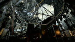 Interior view of the rotating dome of a large astronomical observatory. Stock Footage