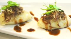 Shredded duck with mashed potatoes course meal dish Stock Footage