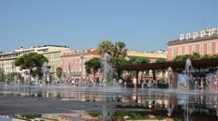 Fontaine on Place Massena in Nice Stock Footage