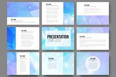 Set of 9 vector templates for presentation slides. Abstract triangle design Piirros