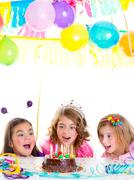 children kid girls birthday party look excited chocolate cake - stock photo
