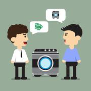 people Buy a washing machine - stock illustration
