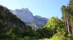 View on Crimean mountain Ai-Petri under the cableway (funikuler) Stock Footage