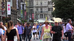 Crowd tourists in the new town (Nove Mesto) of Prague. Stock Footage