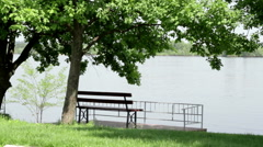 bench on the riverbank - stock footage