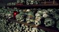 Memorial skulls in Charnel House at Hallstatt Austria HD Footage