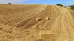 AERIAL: Bales of hay lying on a harvested wheat field Stock Footage