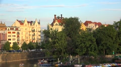 Types of Prague. Masaryk Embankment & Slavonic island from the Legion bridge Stock Footage