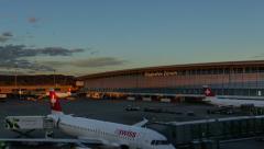 Timelapse Sunset - Zurich International Airport. Switzerland Stock Footage