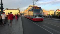 Road traffic with the tram line on the Legion bridge. Prague Stock Footage