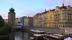 Types of Prague. Rasin Embankment (Nove Mesto) from the Jirasek Bridge. Stock Footage