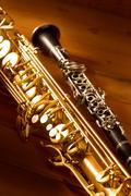 Classic music Sax tenor saxophone and clarinet vintage - stock photo