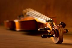 Classic music violin vintage in wooden background Stock Photos