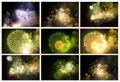 Stock Photo of Set of Colorful Fireworks in the Night Sky