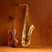 Classic music Sax tenor saxophone violin in vintage - stock photo
