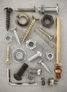 Hardware tools at metal background Stock Photos