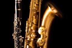 Classic music Sax tenor saxophone and clarinet in black - stock photo