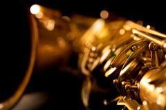 Tenor sax golden saxophone macro selective focus - stock photo