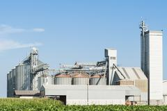 Storage facility and drying of cereals, silos and towers drying - stock photo