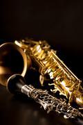 Classic music Sax tenor saxophone and clarinet in black - stock photo