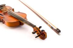 retro violin vintage  on white - stock photo