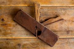 Carpenter vintage wood planer tool planer rusted Stock Photos