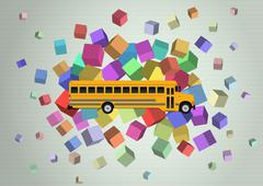 Illustration of yellow school bus with abstract colors Piirros
