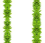 Natural green leaf frame - stock photo