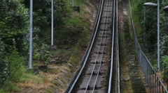 The movement of the cable car on the mountain Merkur in Baden Baden. Germany Stock Footage