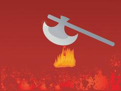 Axe with fire and blood Stock Illustration