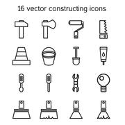 Constructing and building icons set Piirros