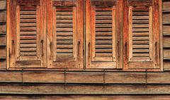 Old Wooden Windows, 4 Closed, Oriental Style Stock Photos