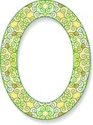 Colorful oval frame with shadow and blank space for your text. Vector illustr - stock illustration