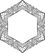 Unusual, hexagonal, lace frame, decorative element with empty place for your  - stock illustration