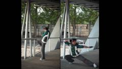 Karate Action, Martial Training And Shadow Boxing Outdoor Under A Bridge Stock Footage