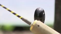 swiss baseball - hornuss puck - stock footage
