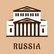 Russian Grand Theater flat icon Stock Illustration