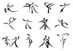 Abstract black icons of dancing people - stock illustration