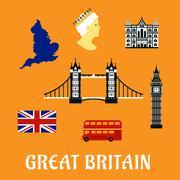 Great Britain travel flat icons Stock Illustration